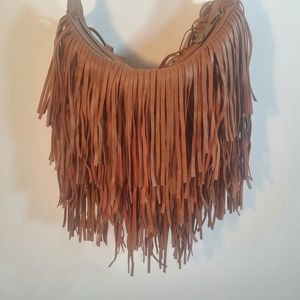 Steve Madden Crossbody Faux Leather Fringe Purse